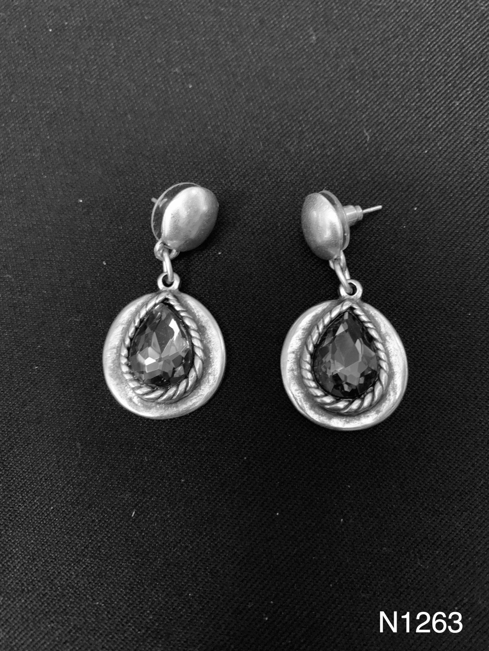 GLASS STONE EARRINGS N1263